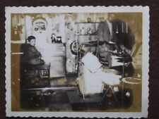 SON AT ORGAN, FATHER ON DRUMS, SCARY SANTA FACE Vtg 1950's POLAROID PHOTO