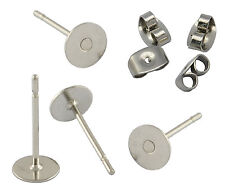 200 Surgical Steel Earring Stud Post 6mm Glue Pad Inc Nut Backs BUDGET RANGE