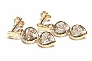 9ct Yellow Gold CZ Double Heart Earrings - Gift Boxed