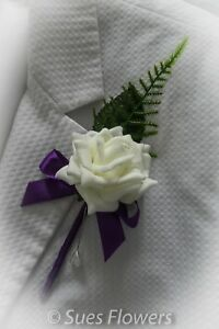 Set of 6 single Cadburys Purple and Ivory Buttonholes