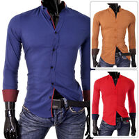 Mens Shirt Casual Band Collar Tight Slim Fit Stretchy Cotton Contrast Cuffs