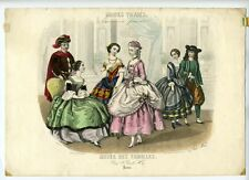 "Antique French Lithograph, ""Modes Vraies"", Fashion, Woman Artist, Paris, 1857"