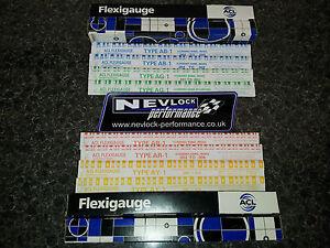 FLEXIGAUGE / PLASTIGAUGE MIIXED SET GREEN / RED / BLUE / YELLOW BOX OF 8