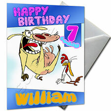 COW AND CHICKEN - PERSONALISED  Birthday Card Large A5 + Envelope