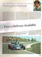 vintage JODY SCHECKTER F1 Formula One Grand Prix Racing Article/Picture/Photo
