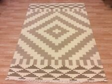 Cream Beige Tribal Aztec Indian Handwoven Wool Kilim Dhurrie Rug 172x235cm 60 of