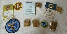 Vintage Cub Scout BSA Lot Belt Badge Awards Patch Camping '77 Tenderfoot Liberty