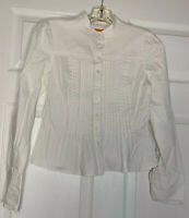 Cynthia Steffe Top Blouse Shirt Women Size 8 White Ruffled Pleated Front
