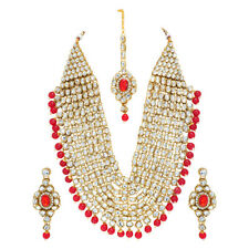 Gold Plated Kundan Pearl Haram Choker Necklace Set Bridal Jewelry Set for Women