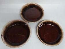 3 VINTAGE HULL POTTERY BROWN DRIP GLAZE BOWLS