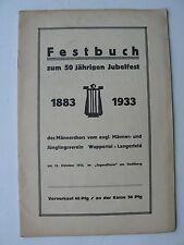 Festbuch zum 50jährigen Jubelfest 1883-1933 Männerchor Wuppertal-Langerfeld