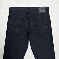 Mens LEVIS 522 Slim Fit Tapered leg Jeans Size W32 L31 Black Stretch Denim Zip