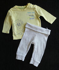 Baby clothes BOY 0-3m George outfit Baby Taz yellow/grey top/soft grey trousers