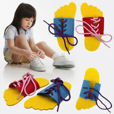 2 x Learn To Lace Tie Shoes Practice Lacing Learning Shoe Children's Shoelace