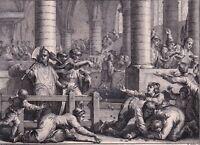 Gravure XVIIIe Cours Plénières Rois Pépin le Bref Assemblée Banquet Evêques