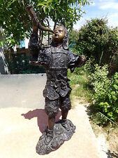 Rare & Grande Statue 48 cm en Bronze d'un Guerrier Samouraï Warrior Sculpture