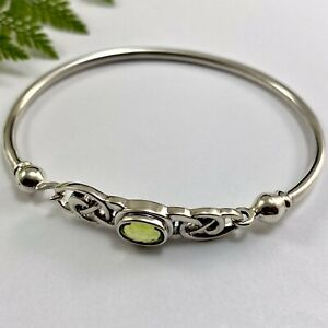 Solid Sterling Silver Celtic Knot Bangle with Green Peridot August Birthstone