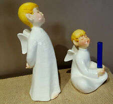 "Weiss Boy Angel Figurine 15� + Boy Angel Candle Holder 11"" Brazil Hand Painted"