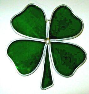 "Green Four Leaf Clover Hand-Made Suncatcher 4 1/2"" x 4 1/2"""