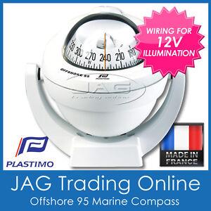 PLASTIMO OFFSHORE 95 WHITE BRACKET MOUNT BOAT/MARINE COMPASS & 12V LIGHTING
