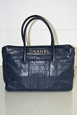 New CHANEL Quilted Navy Leather Executive Tote Shopper LAMBSKIN LAX E / W Bag