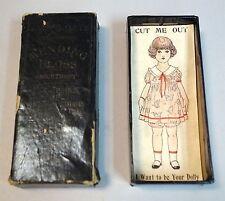 """J & P Coats Mending Floss Box w Uncut Paper  """"Dolly"""" Premium in Box 1910s"""