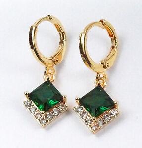 Women's Gold Plated Green Crystal drop dangle Earrings