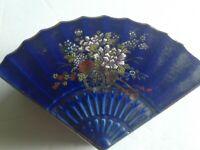 "Vintage Kutani Cobalt Blue Fan Shape Porcelain Trinket Box Japan 3""× 2"""
