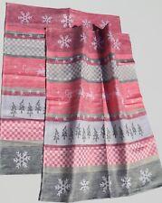 2x Geschirrtücher Weihnachten Kracht HalbLeinen Küche Rentiere Schnee Winter