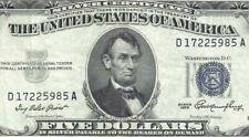 1953 $5 BLUE Seal SILVER Certificate! Old US Paper Money Currency!