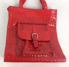 "VTG 60s Faux Crocodile Cherry Red Vinyl Purse Retro Pinup Girl 12"" Tote Handbag"