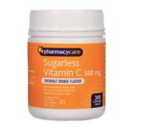 Pharmacy Care Sugarless Vitamin C 500mg 200 Chewable Orange tablets