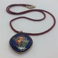 "Vintage Necklace 24"" Pendant Cloisonne Enamel String Flower Red Blue"