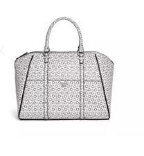 GUESS handbag/bag large tote white black monogram carryall shopper
