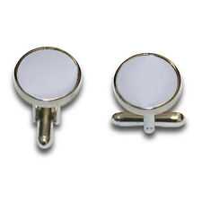 DQT Brass Fabric Inlay Cuff Links Plain Solid Silver Mens Cufflinks