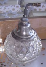 VICTORIAN SCENT BOTTLE PUMP SPRAY STERLING SILVER TOP WITH CRYSTAL CUT GLASS BAS