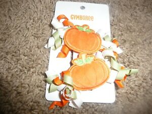 NEW NWT Gymboree GIRLS Lil Pumpkin 2 pack Hair Clips one size