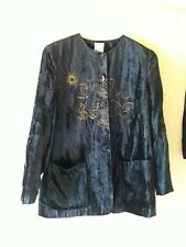 Mondi Ladies Navy Velvet Suit Straight Skirt Gold Embroidered Jacket Size 12?