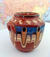 Bulgaria Jug Redware Pottery Troyan Vase Drip Glaze w Cyrillic Paper Label VTG