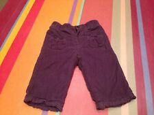 Pantalon velours violet BOUT'CHOU, 6 mois, bon état