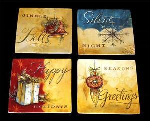 "4 Oneida Christmas SEASONS GREETINGS 8"" HVY Square Salad Plates NWOT DISC 2007"