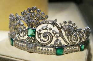 15.75ct Rose Cut Diamond Antique Look 925 Silver Wedding Emerald Gemstone Tiara