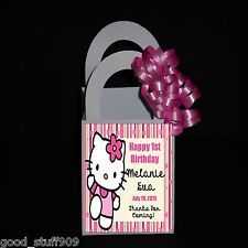 HELLO KITTY PERSONALIZED 12 FAVOR BOXES BIRTHDAY PARTY   RIBBON INCLUDED