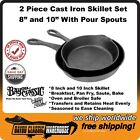 """Cast Iron 2 Piece Skillet Set 8"""" and 10"""" With Pour Spouts Bayou Classic 7457"""