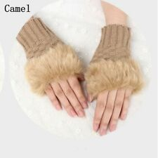 Women Winter Warmer Fingerless Gloves Faux Rabbit Hand Wrist Knitted Mittens New