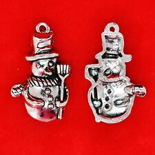 8 x Tibetan Silver Snowman with Broomstick Christmas Winter Charm Pendant