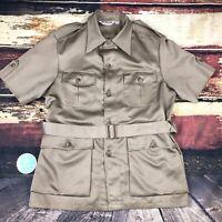 Vtg McGregor Safari Hunting Belted Outback Shirt Jacket Hiking Backpack Mens M