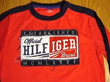TOMMY HILFIGER Official Logo Shirt BOYS L L/G 12-14 Red Spell Out Long Sleeve