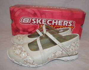 Skechers Leather & Eyelet Maryjanes w/ Jeweled Detail- Size 7.5- Color Natural