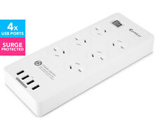 Sansai 6-Outlet Power Board + 4-Port USB Charging Station